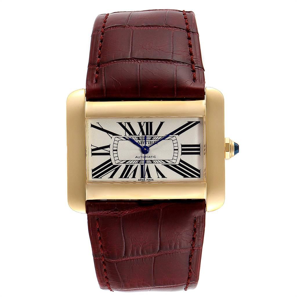 Cartier Tank Divan Large Silver Dial Yellow Gold Ladies Watch W6300856 SwissWatchExpo