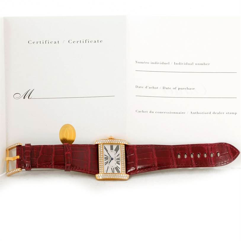 Cartier Tank Divan Large 18K Yellow Gold Diamond Watch WA301170 SwissWatchExpo