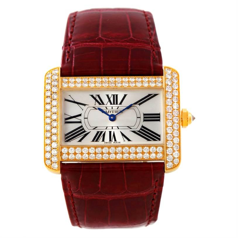 Cartier tank divan large 18k yellow gold diamond watch for Cartier divan xl