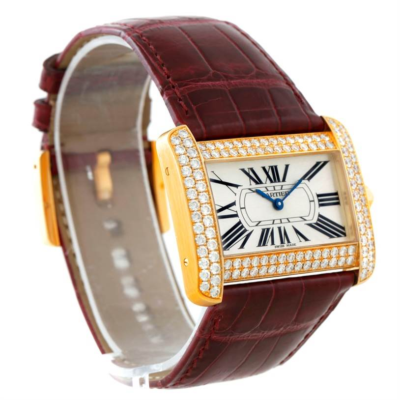 7745P Cartier Tank Divan Large 18K Yellow Gold Diamond Watch WA301170 SwissWatchExpo