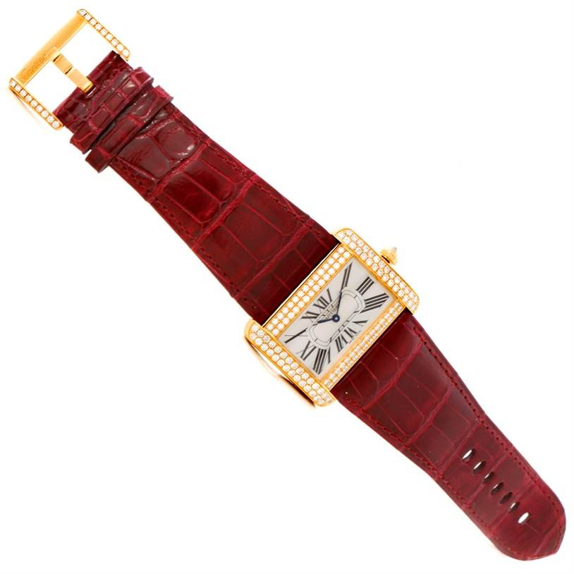 7745P Cartier Tank Divan Large 18K Yellow Gold Diamond Watch WA301170 SwissWatchExpo