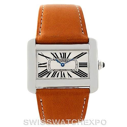 Cartier tank divan large stainless steel watch w6300655 for Cartier divan xl