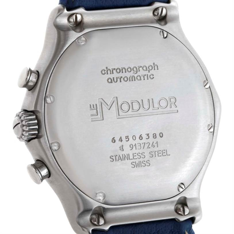 Ebel Le Modulor Automatic Chronograph Blue Strap Watch 9137241 Box Papers SwissWatchExpo