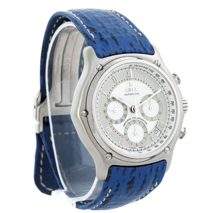 9694 Ebel Le Modulor Automatic Chronograph Blue Strap Watch 9137241 Box Papers SwissWatchExpo