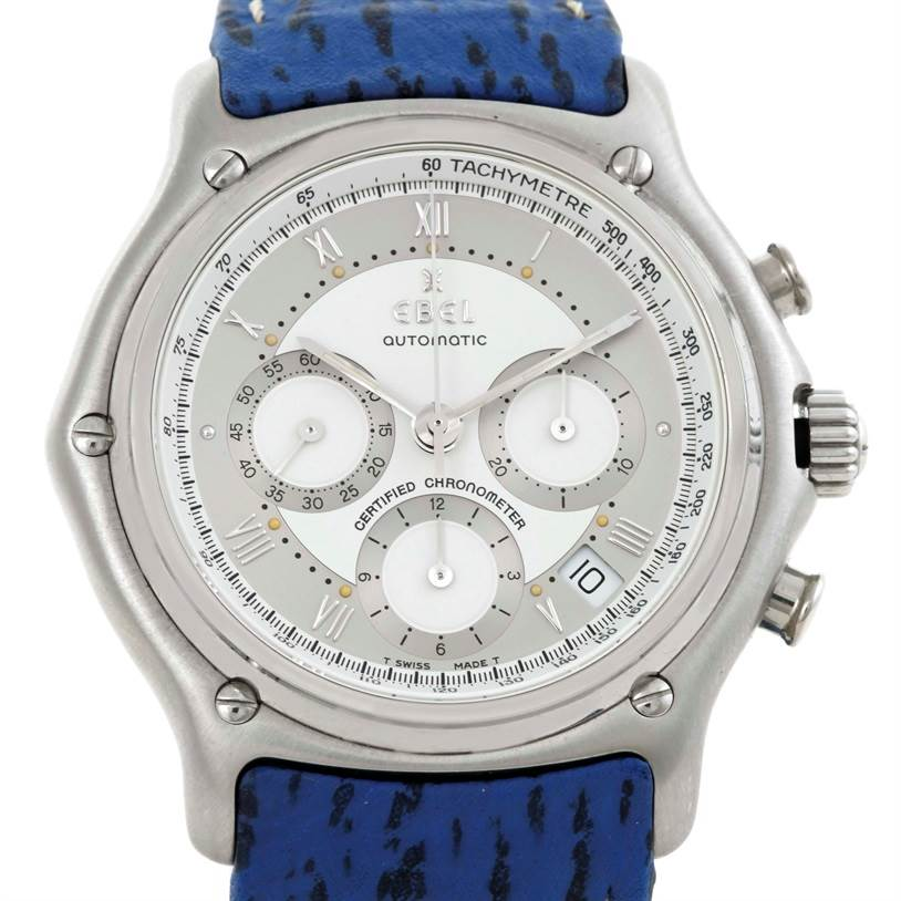 Photo of Ebel Le Modulor Automatic Chronograph Blue Strap Watch 9137241 Box Papers