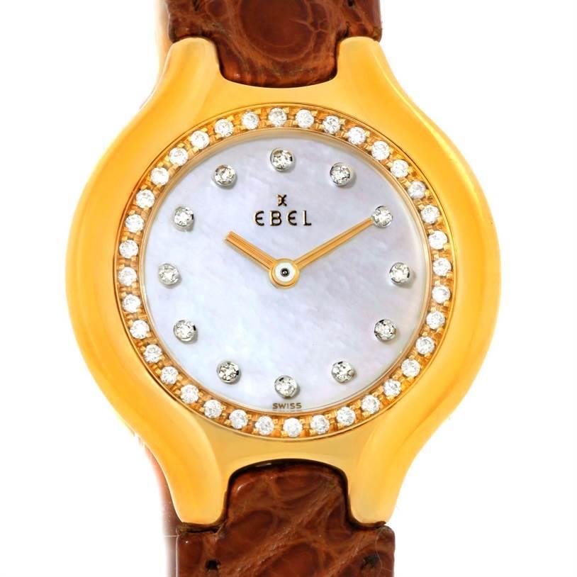 9980 Ebel Beluga Ladies Yellow Gold Mother of Pearl Diamond Watch 866940 SwissWatchExpo