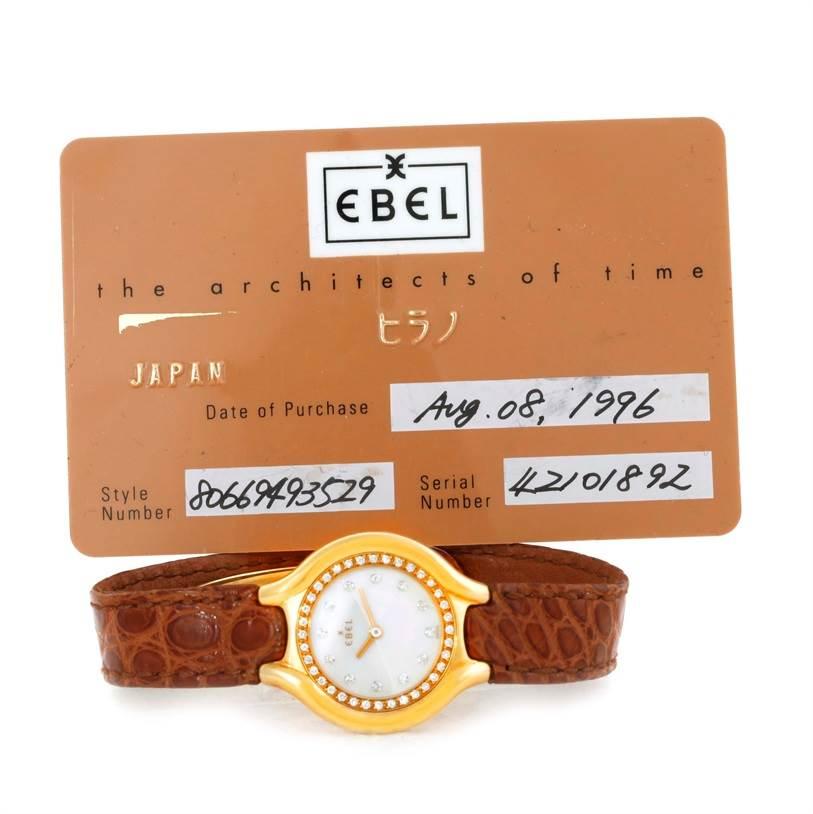 Ebel Beluga Ladies Yellow Gold Mother of Pearl Diamond Watch 866940 SwissWatchExpo