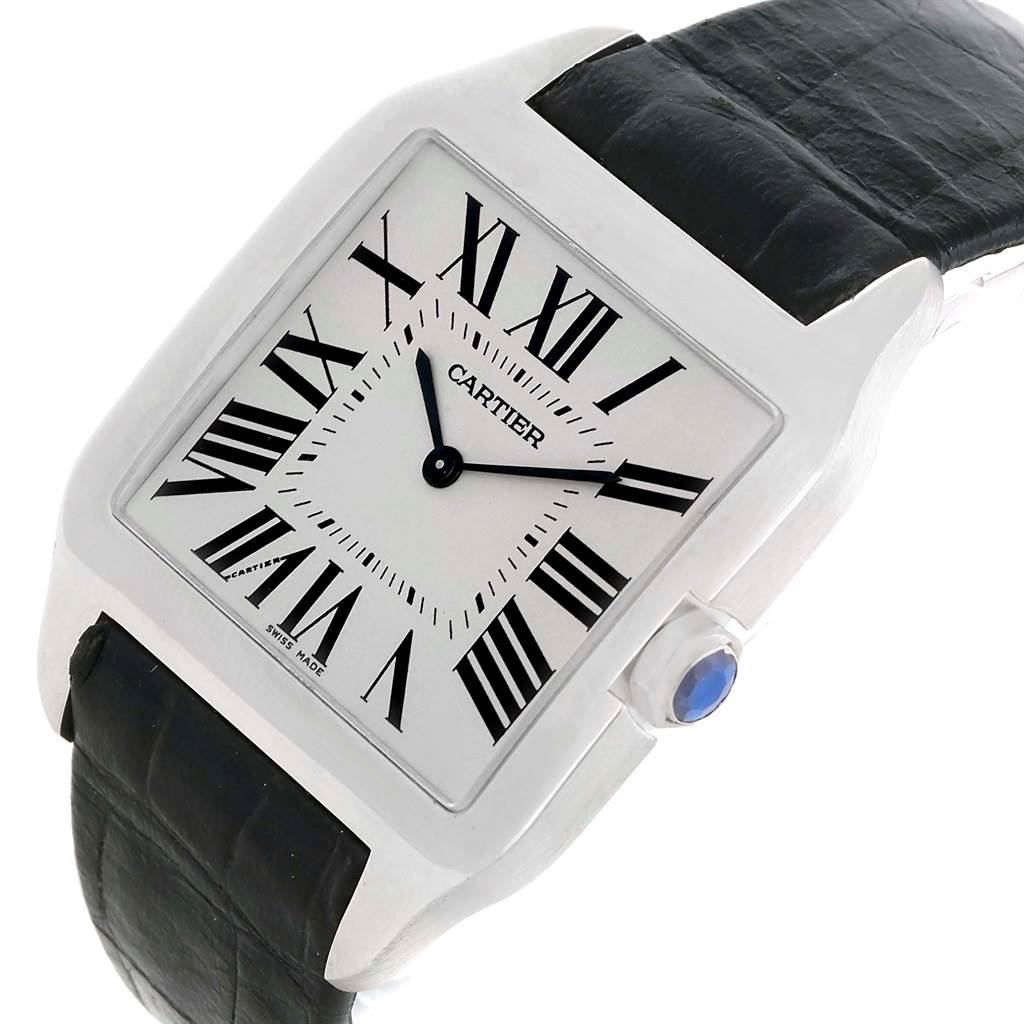 10055P Cartier Santos Dumont Mens 18k White Gold Manual Watch W2007051 SwissWatchExpo
