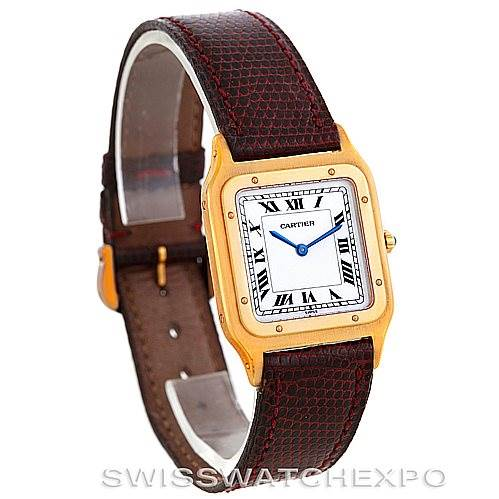 6356 Cartier Santos Dumont Paris Mecanique 18k Yellow Gold Watch SwissWatchExpo