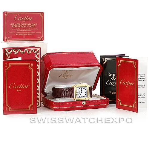 6356 Cartier Santos Dumont Paris Mecanique 18k Yellow Gold Watch SwissWatchExpo