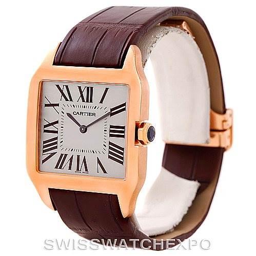 7704P Cartier Santos Dumont Mens 18k Rose Gold Watch W2006951 SwissWatchExpo