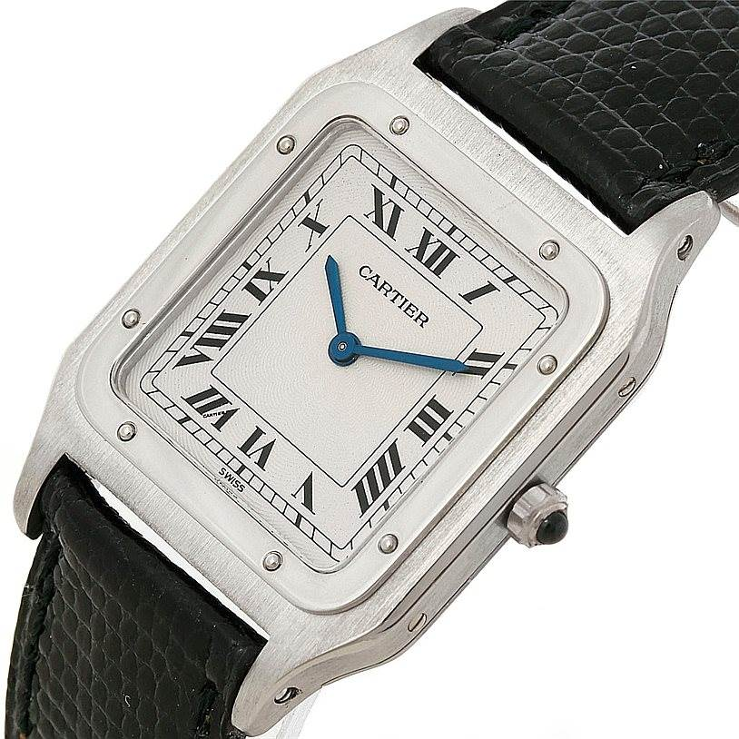 7982 Cartier Santos Dumont Paris Platinum Mecanique Watch 15751 SwissWatchExpo