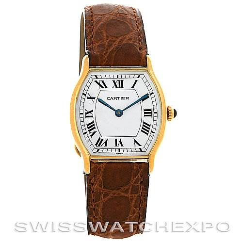 2882 Cartier Paris Tortue 18k Y Gold Tonneau Shaped Watch  SwissWatchExpo