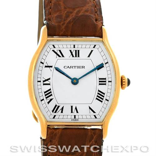 Photo of Cartier Paris Tortue 18k Y Gold Tonneau Shaped Watch