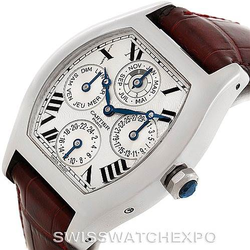 8118P Cartier Tortue Platinum Two Time Zone Perpetual Calendar Watch W1540551 SwissWatchExpo