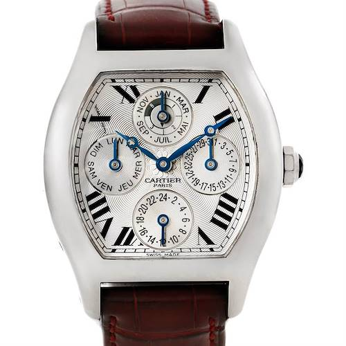 Photo of Cartier Tortue Platinum Two Time Zone Perpetual Calendar Watch W1540551