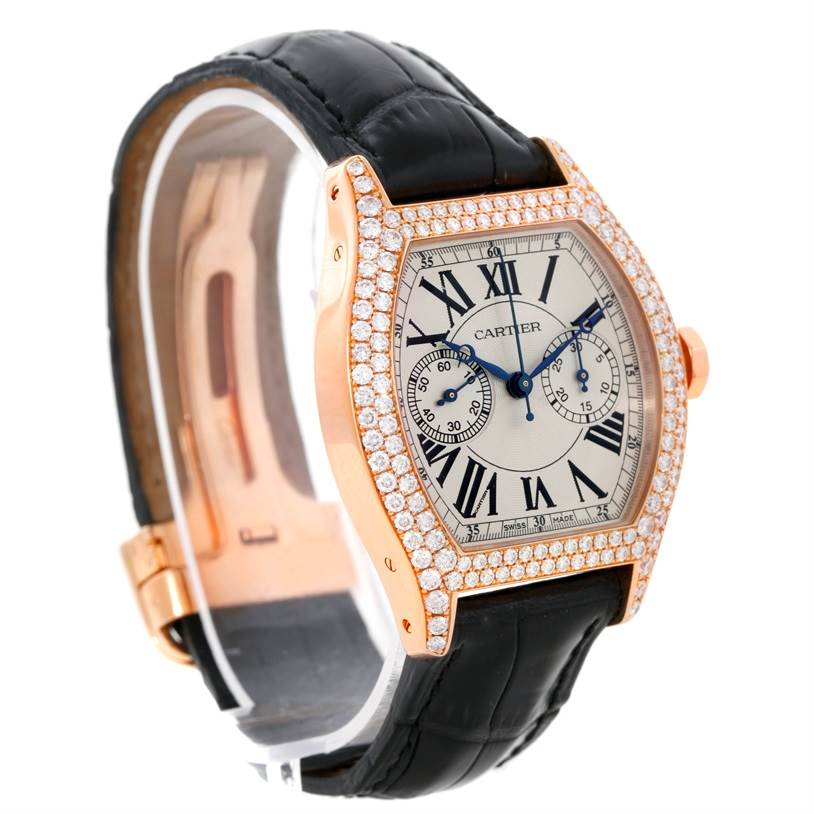 8924P Cartier Tortue Monopoussoir Chronograph 18K Rose Gold Diamond Watch SwissWatchExpo