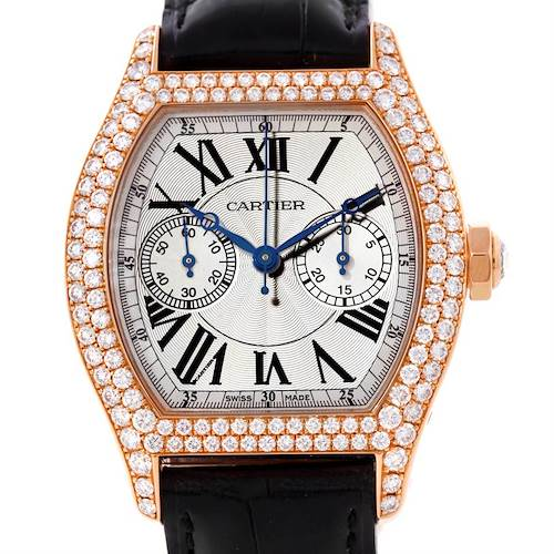 Photo of Cartier Tortue Monopoussoir Chronograph 18K Rose Gold Diamond Watch