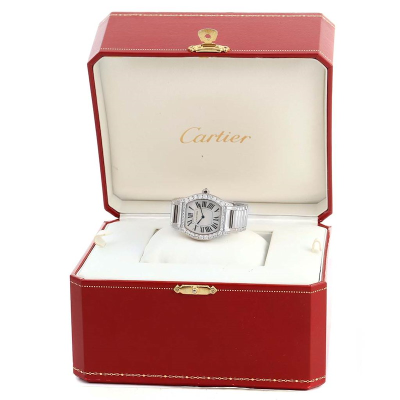 Cartier Tortue 18K White Gold Diamond Ladies Watch WA5072W9 SwissWatchExpo