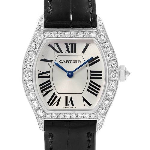 Photo of Cartier Tortue 18K White Gold Diamond Ladies Watch WA507231 Box Papers