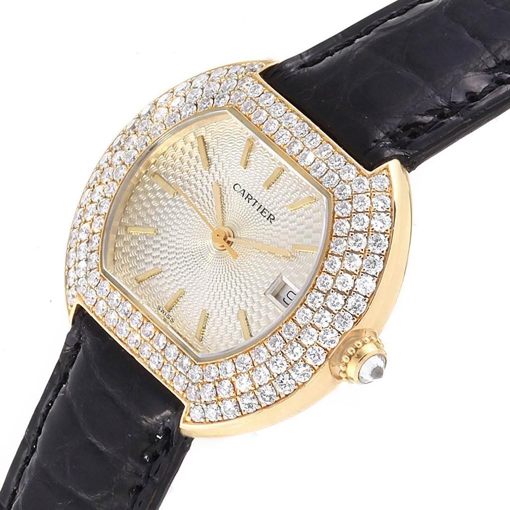 Cartier Ellipse 18K Yellow Gold Diamond Silver Dial Ladies Watch 1481 SwissWatchExpo