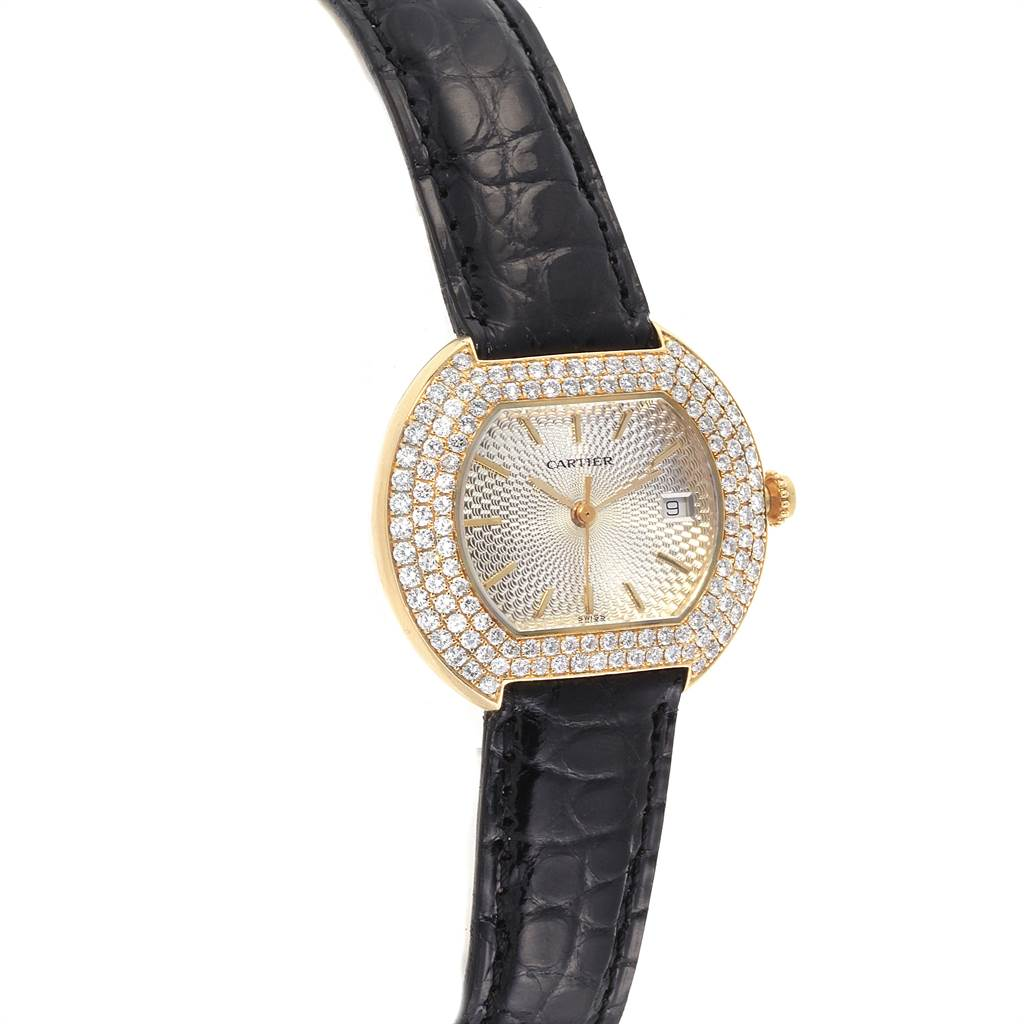 Cartier Ellipse 18K Yellow Gold Diamond Silver Dial Ladies Watch 1481 SwissWatchExpo