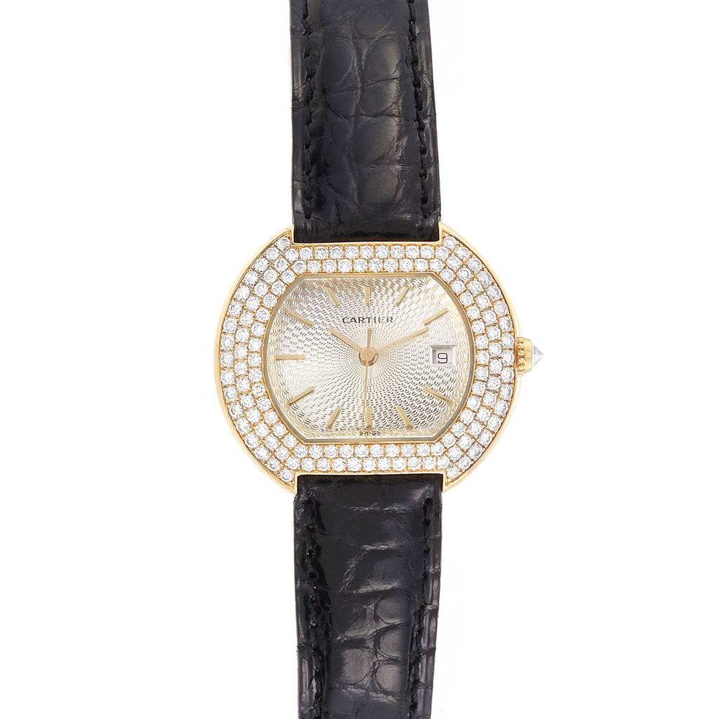 Photo of Cartier Ellipse 18K Yellow Gold Diamond Silver Dial Ladies Watch 1481