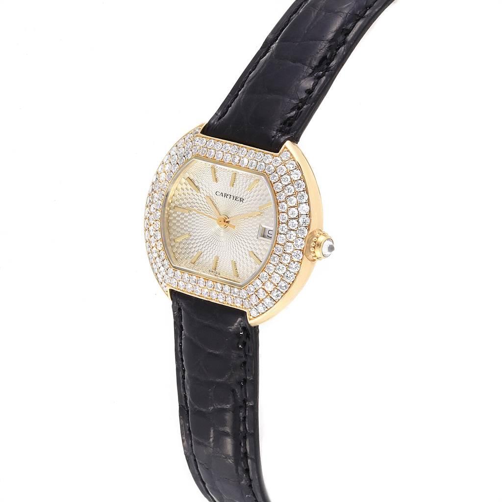 22834 Cartier Tortue 18K Yellow Gold Diamond Silver Dial Ladies Watch 1481 SwissWatchExpo