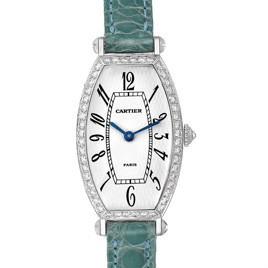 Cartier Tonneau White Gold Green Strap Diamond Ladies Watch WE400131 SwissWatchExpo