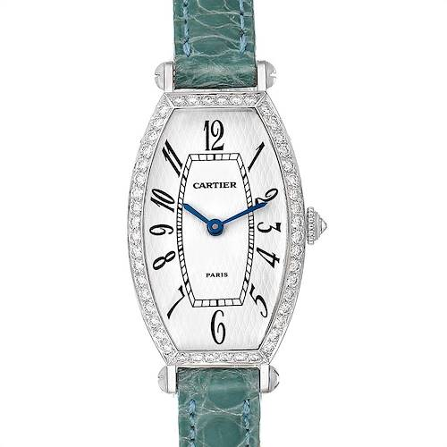Photo of Cartier Tonneau White Gold Green Strap Diamond Ladies Watch WE400131