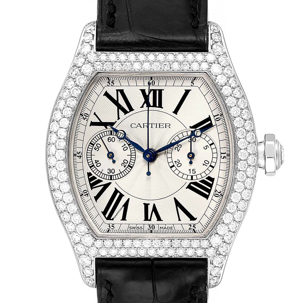 Cartier Tortue Monopusher Chronograph White Gold Diamond Watch 2396G SwissWatchExpo