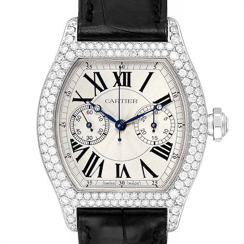 Photo of Cartier Tortue Monopusher Chronograph White Gold Diamond Watch 2396G