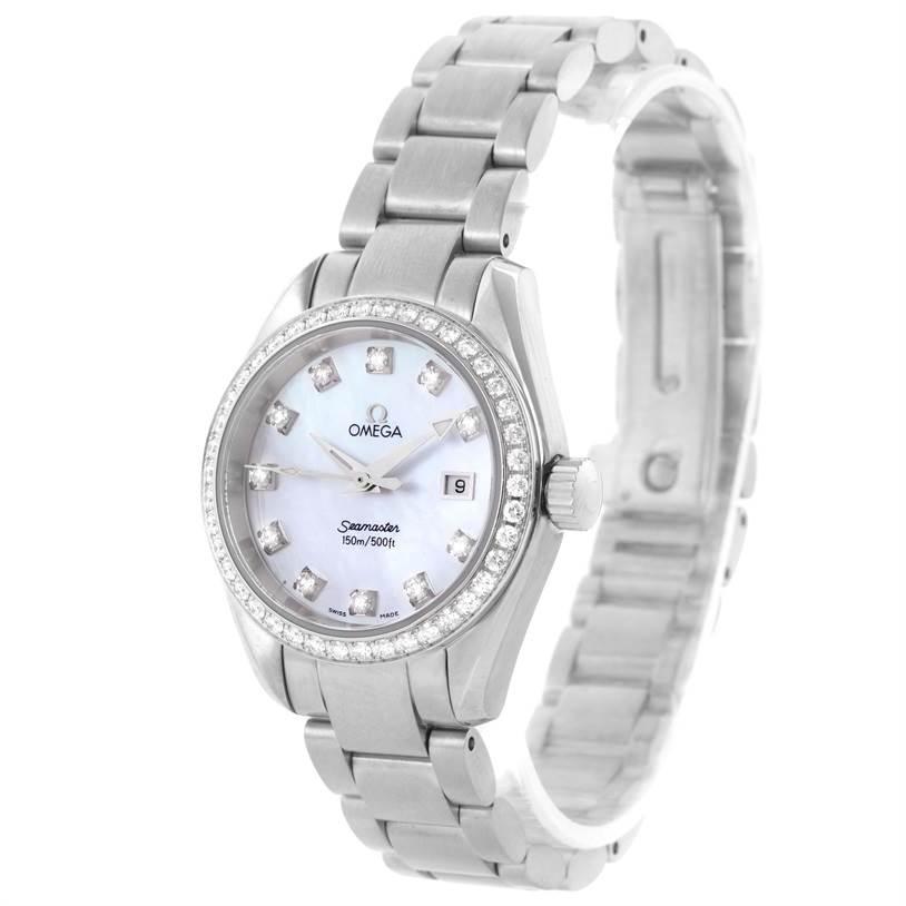 11823 Omega Aqua Terra 29mm Mother of Pearl Diamond Ladies Watch 2579.75 SwissWatchExpo