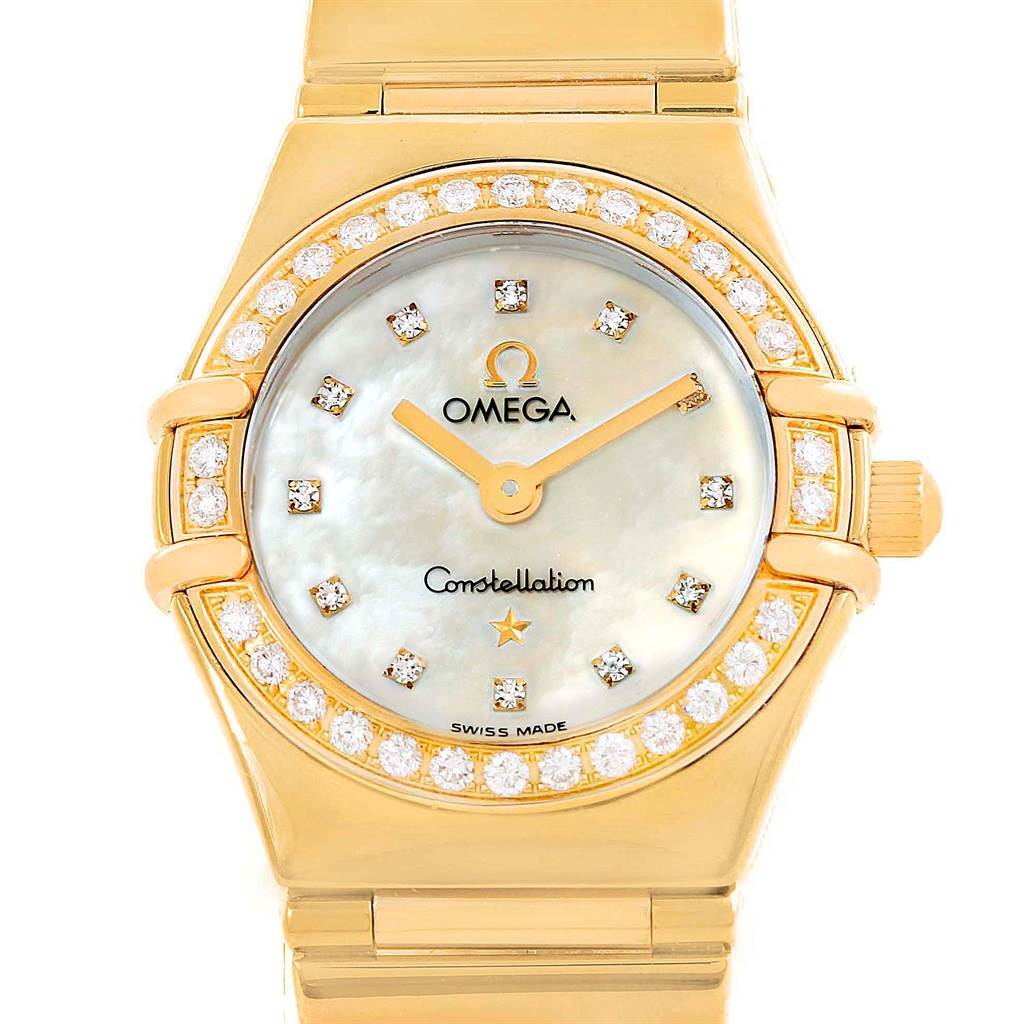 Photo of Omega Constellation My Choice Yellow Gold MOP Diamond Ladies Watch 1164.75.00