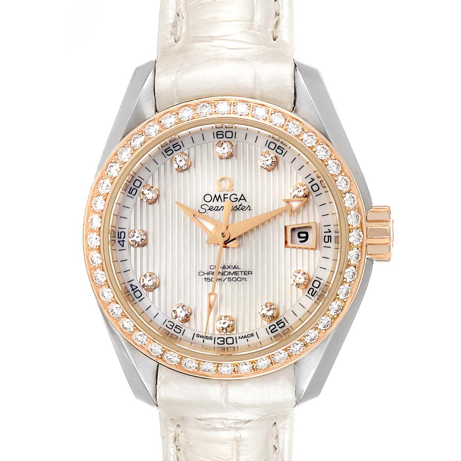 Omega Aqua Terra Steel Rose Gold Diamond Watch 231.28.30.20.55.001