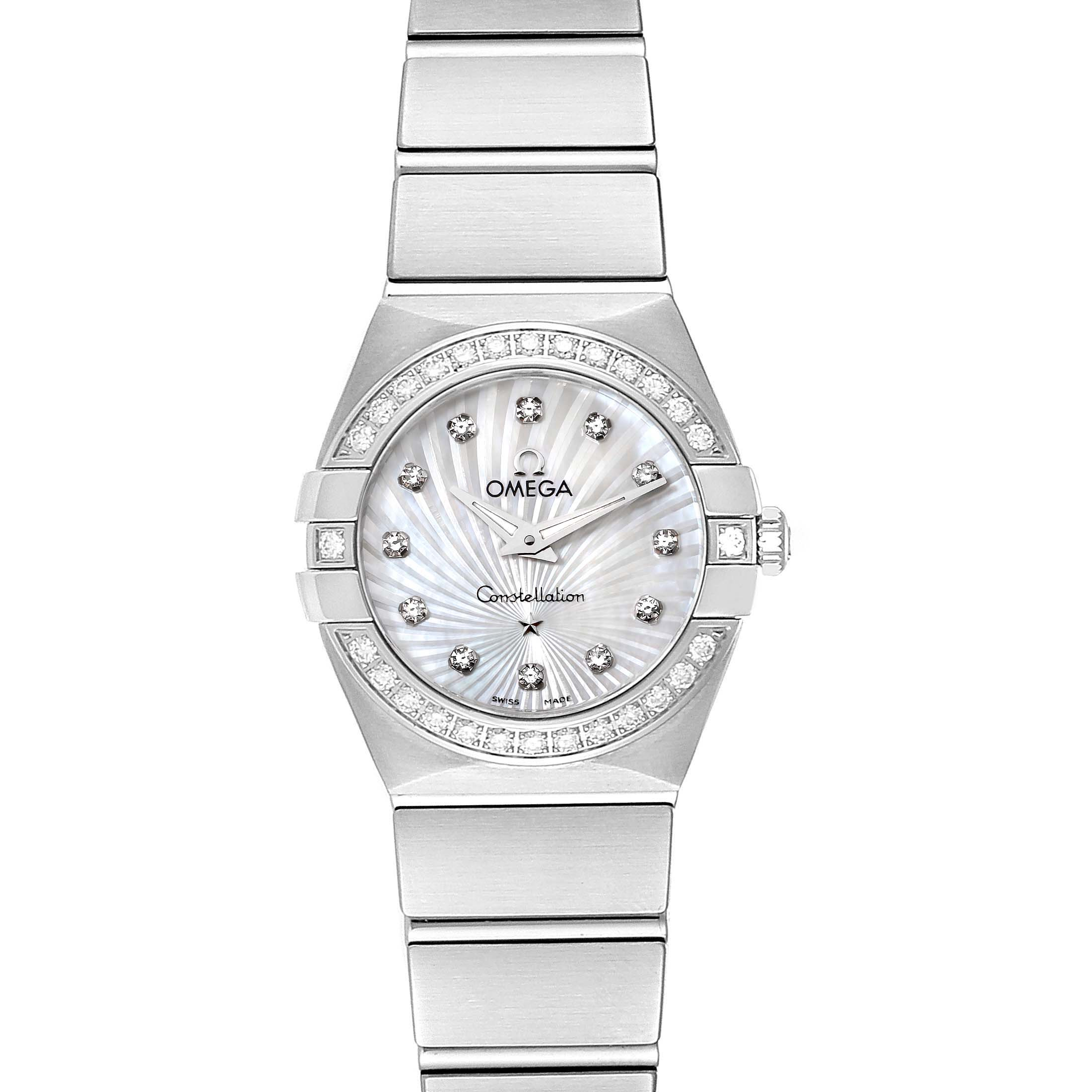 Omega Constellation Steel MOP Diamond Watch 123.15.24.60.55.004 Unworn SwissWatchExpo