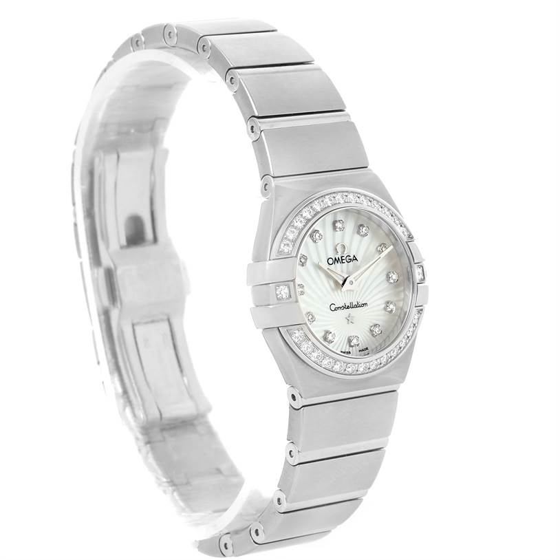 16166 Omega Constellation Steel MOP Diamond Watch 123.15.24.60.55.004 Unworn SwissWatchExpo