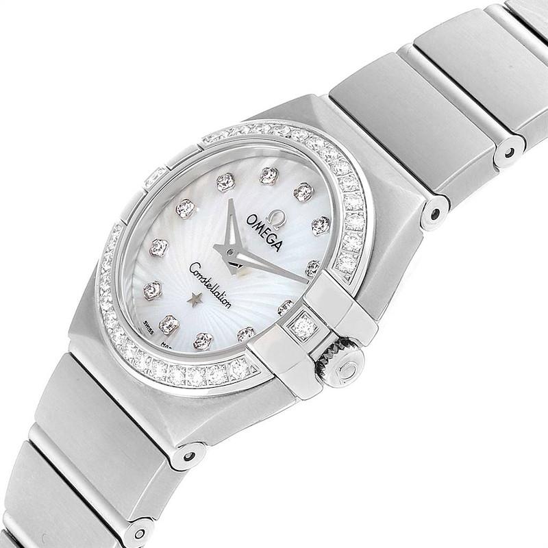 Omega Constellation Steel MOP Diamond Watch 123.15.24.60.55.004 Unworn SwissWatchExpo