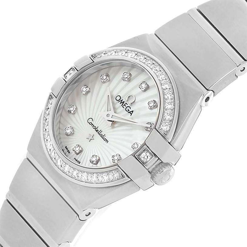 Omega Constellation Mother of Pearl Diamond Watch 123.15.24.60.55.004 Unworn SwissWatchExpo