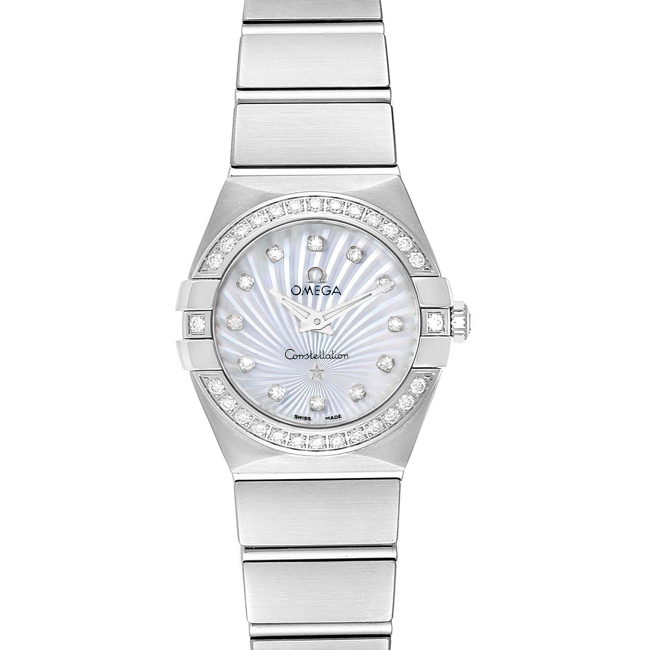 Omega Constellation Steel MOP Diamond Watch 123.15.24.60.55.004 Unworn