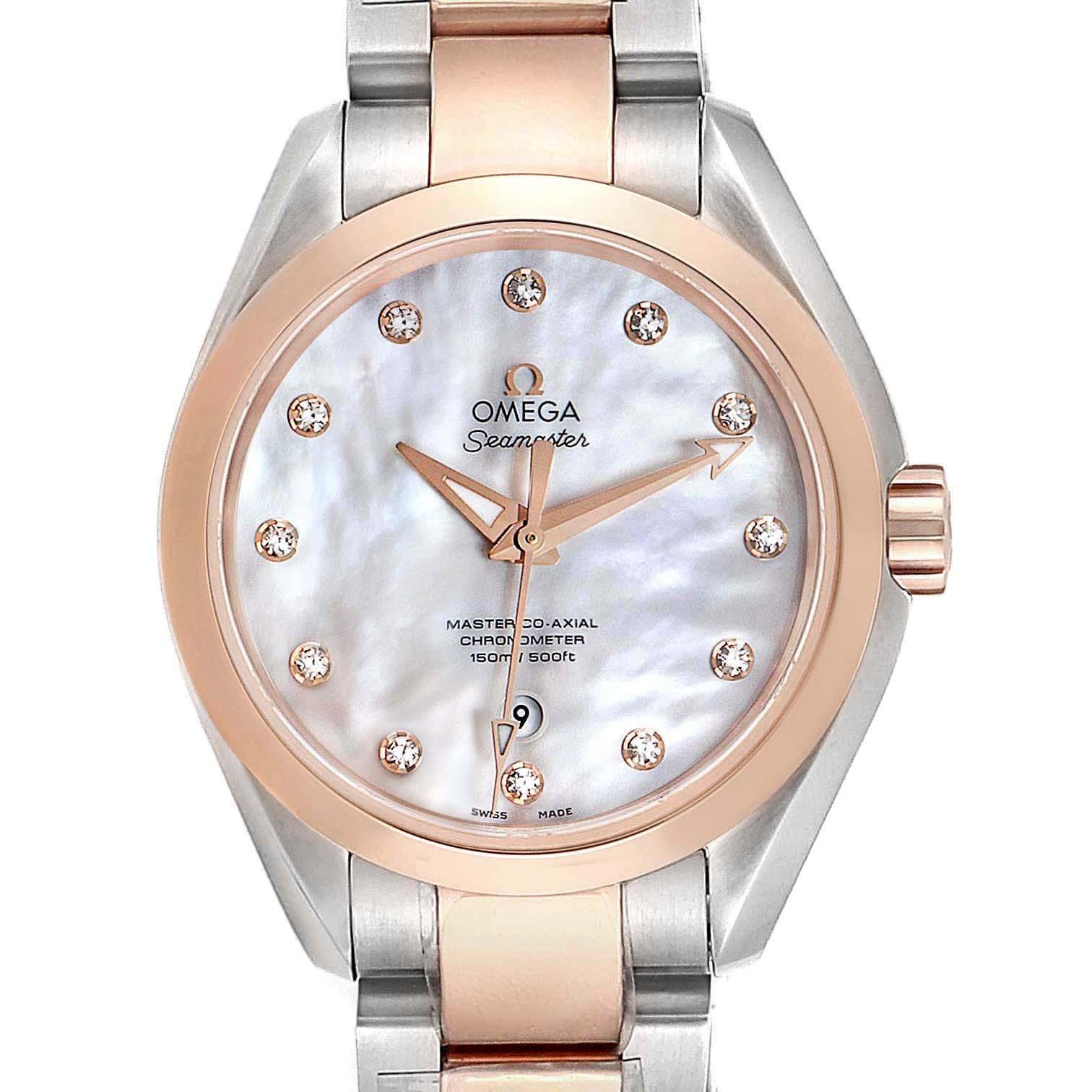 Omega Aqua Terra Rose Gold MOP Diamond Ladies Watch 231.20.34.20.55.001 Unworn SwissWatchExpo