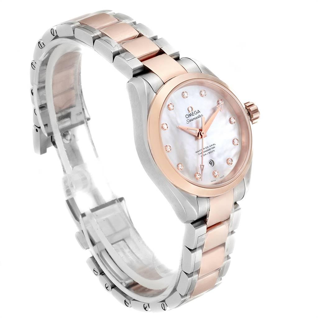 17137 Omega Aqua Terra Rose Sedna Gold Diamond Ladies Watch 231.20.34.20.55.001 Unworn SwissWatchExpo