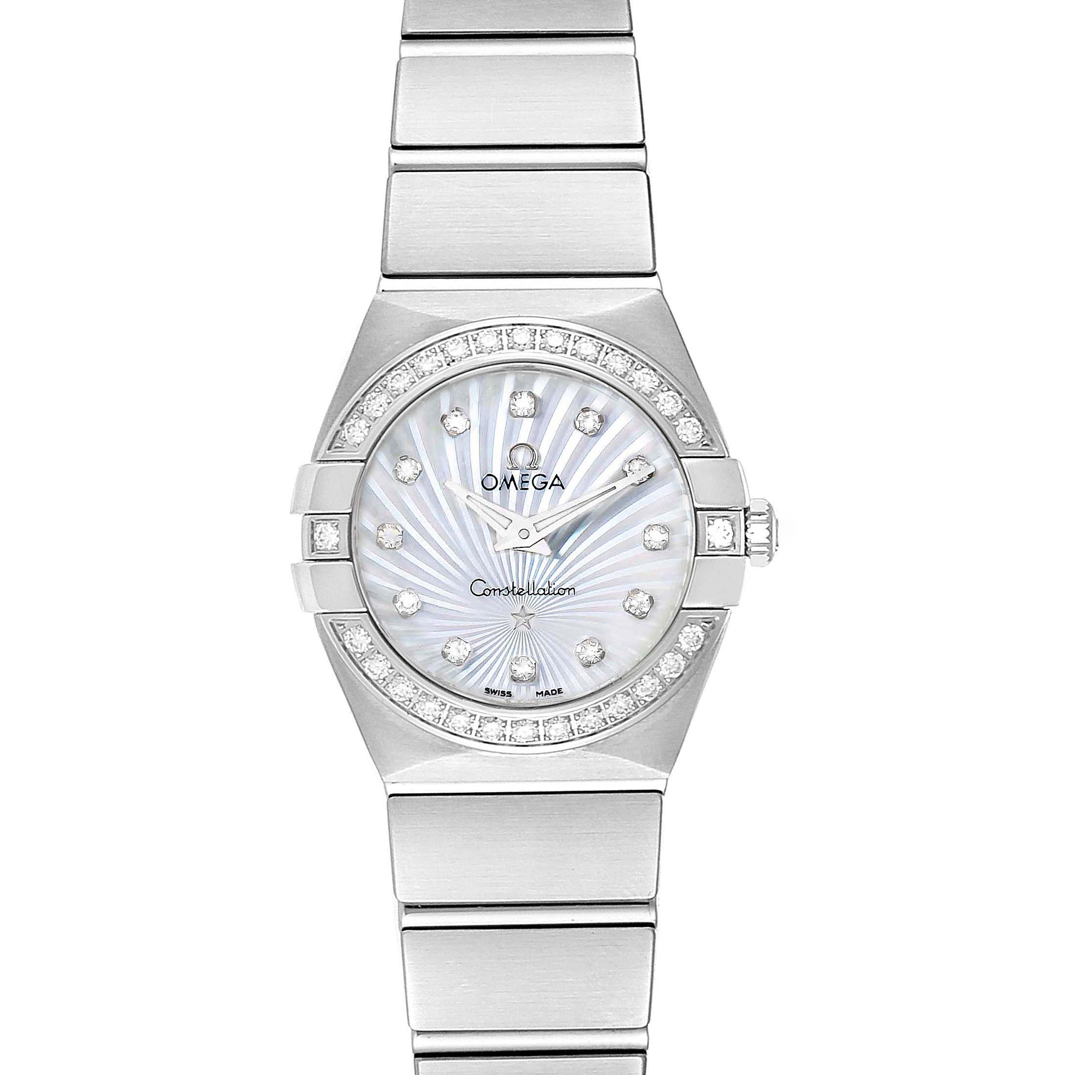 Omega Constellation 24 MOP Diamond Watch 123.15.24.60.55.004 Unworn