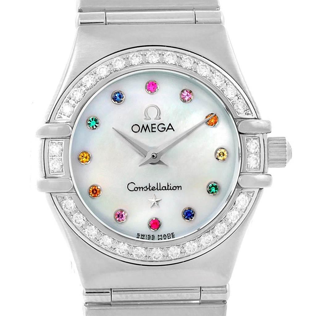 Photo of Omega Constellation Iris Rainbow Multi Stone Watch 1476.79.00 Box Card