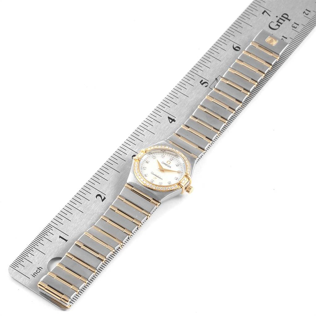 21798 Omega Constellation 95 Steel Yellow Gold MOP Diamond Watch 1277.75.00 SwissWatchExpo