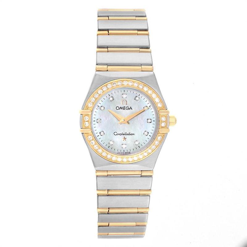 Omega Constellation 95 Steel Yellow Gold MOP Diamond Watch 1277.75.00 SwissWatchExpo