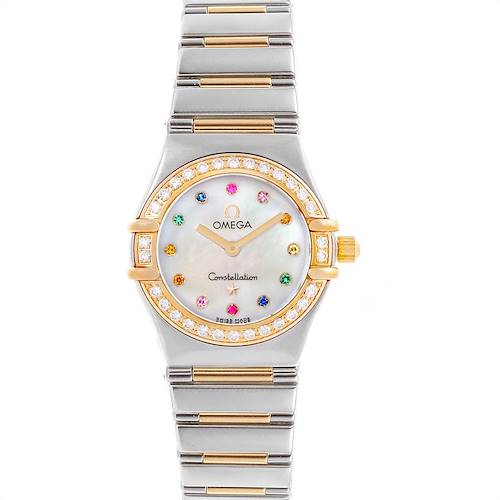 Photo of Omega Constellation Iris Steel Yellow Gold Rainbow Multi Stone Watch 1365.79.00
