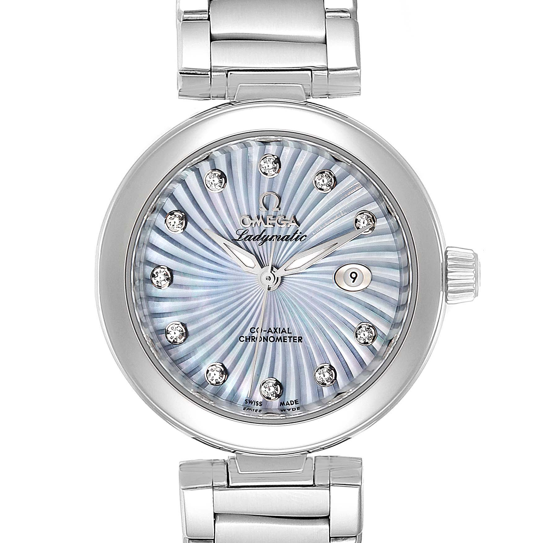 Omega DeVille Ladymatic Blue MOP Diamond Ladies Watch 425.30.34.20.57.002 Box Card SwissWatchExpo