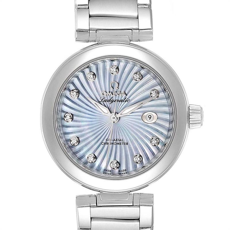 Omega DeVille Ladymatic Blue MOP Diamond Ladies Watch 425.30.34.20.57.002 Box Card SwissWatchExpo