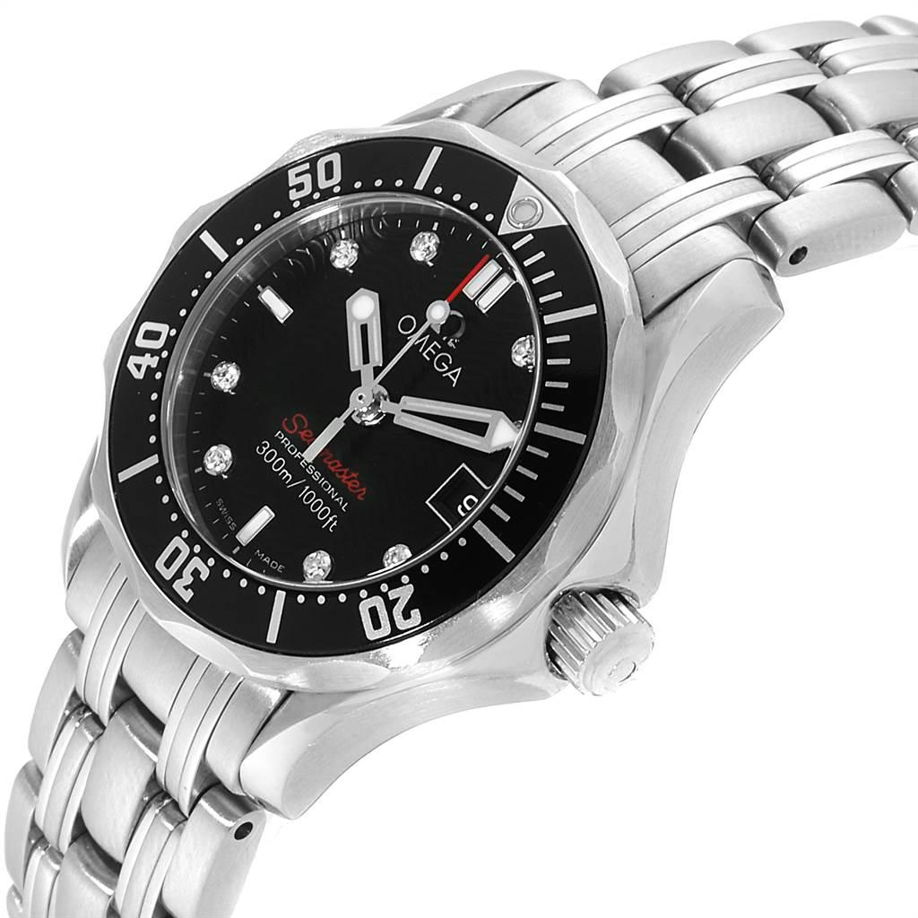 22665 Omega Seamaster Black Dial Diamond Ladies Watch 212.30.28.61.51.001 SwissWatchExpo